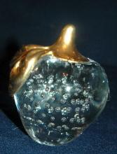 Controlled Bubble Crystal Glass Apple Paperweight