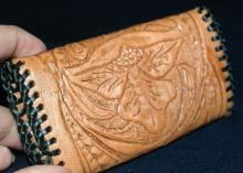 Hand Tooled Leather Bi-Fold  Key  Ring Holder   Free Shipping