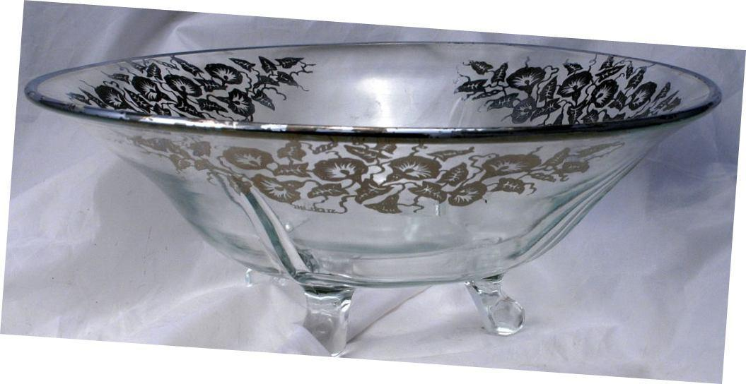 Art DECO Sterling Silver Morning Glories  Overlay Glass Center Piece 4- foot Bowl   Elegant Glassware   Cambridge Glass