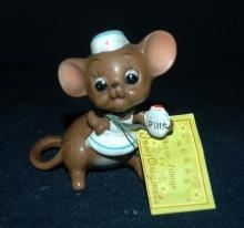 VINTAGE JOSEF ORIGINALS NURSE MOUSE WITH PILLS FIGURINE MADE IN JAPAN with tags  Free Shipping