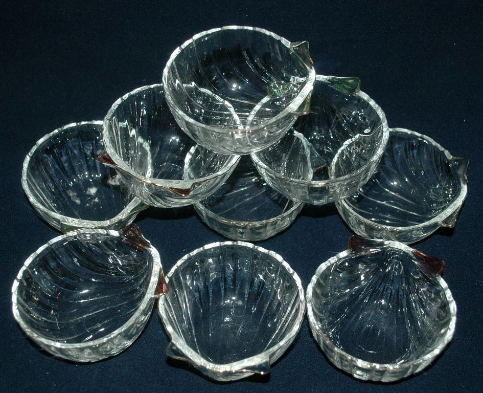 9 Shell Dessert  Bowls   Gold and Color Flash Trim