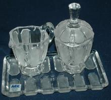 HAND MADE IN POLAND FOOTED CREAM & SUGAR SET WITH TRAY  OVER 24% LEAD CRYSTAL  ACC