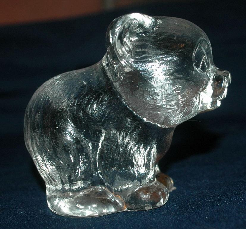 Heavy Textured Crystal Glass Bear  Paperweight  Signed Numbered  and Dated