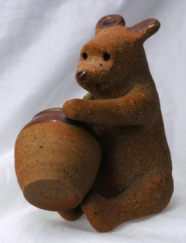 Hand Sculpted Stoneware Pottery Bear with Honey Pot  / Old Pooh Bear  -  Art