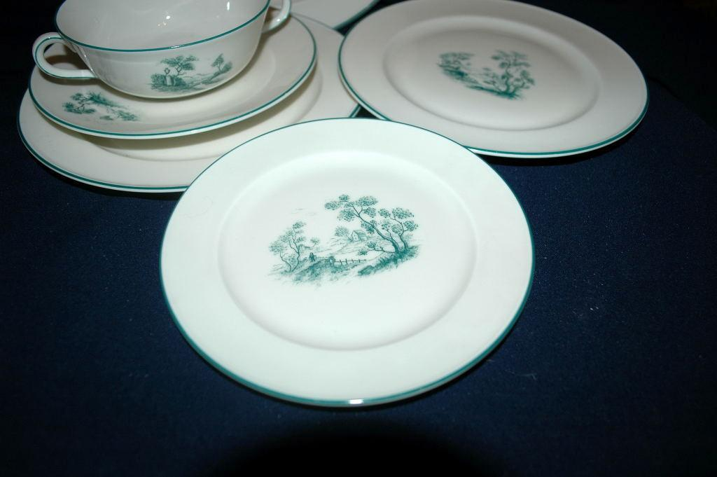 Furstenberg Brunswick Germany Porcelain 6 pc  Cream Soup Bowl  and Plates