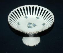 Porcelain Forget-me-not flowers  Reticulated Compote  German Democratic Republic  ( Bon Bon  )