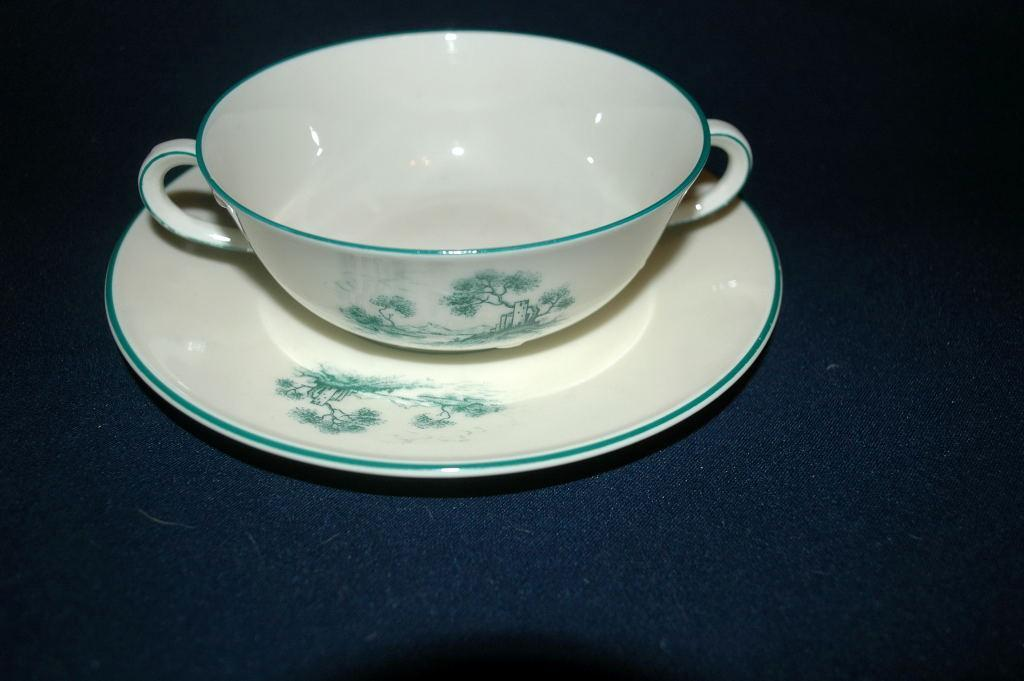 Furstenberg Brunswick Germany Porcelain   cream soup bowl with soup plate