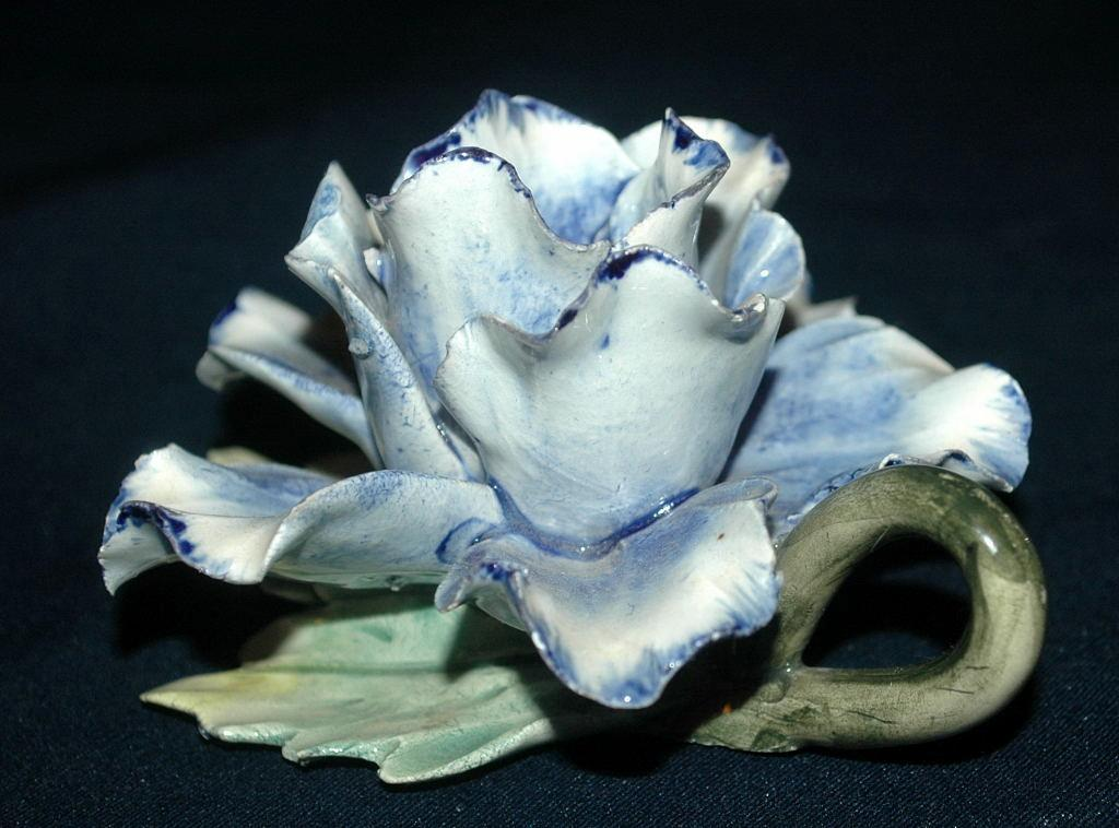 Napoleon Capodimonte Porcelain  Blue Rose Candle Holder with Handle