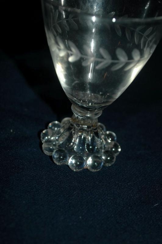5 vintage etched Boopie Juice  or wine Glasses