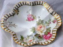 Silesia Germany Porcelain Bon Bon Dish  Bowl  Hand Painted Roses with Open Handle