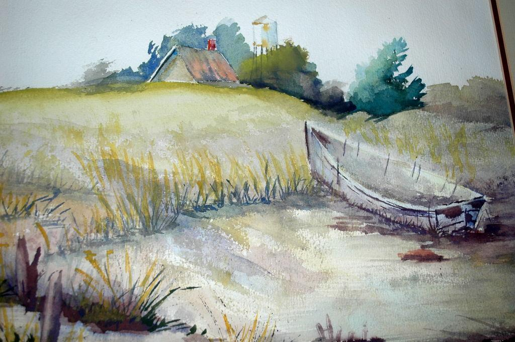 Large Row Boat Ashore Watercolor Painting.  Signed