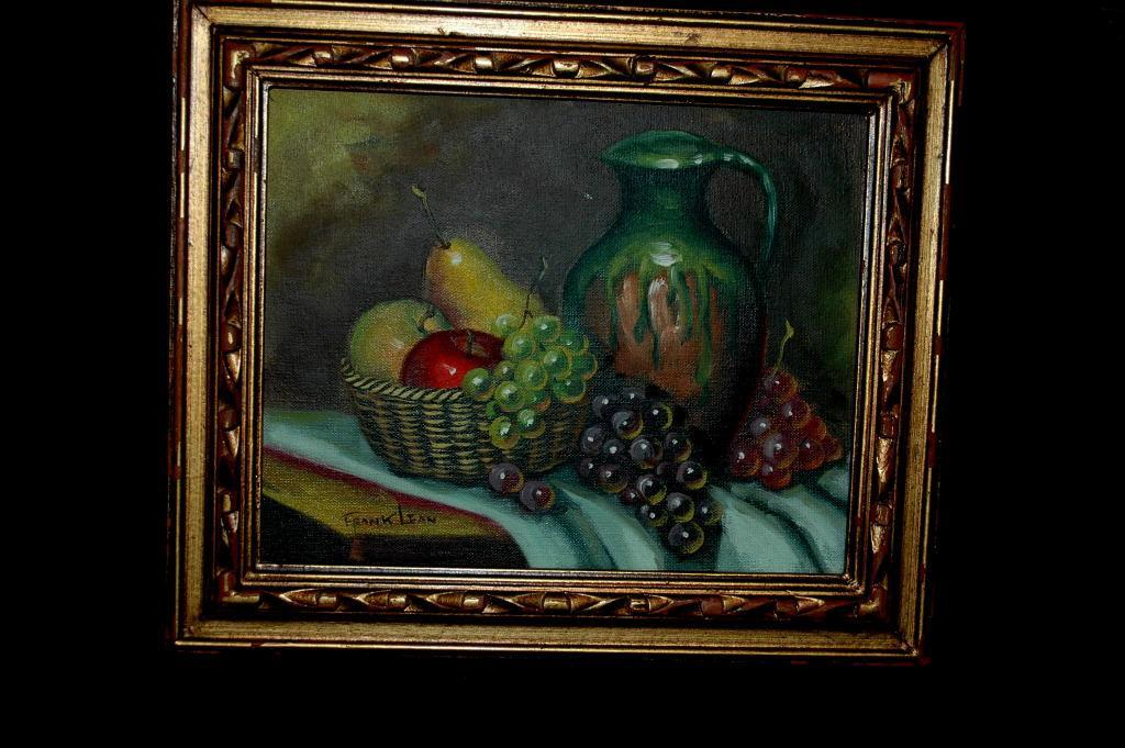 Still Life  Fruit & Jug Painting by Frank Lean Oil on Board, Framed