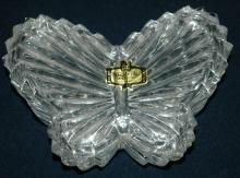 Zajecar  Kristal Crystal Butterfly Trinket Box Yugoslavia