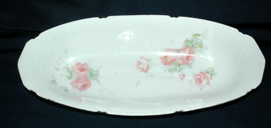LEUCHTENBURG GERMANY PORCELAIN CELERY BOWL ROSE DESIGN