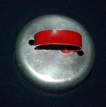 Round  Aluminum Biscuit or  Cookie Cutter  Red Painted Handle   FREE SHIPPING
