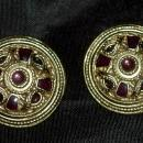 Carol Dauplaise Large Gold & Amethyst Shield Disc Clip on earrings