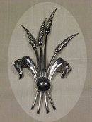 Sterling Silver Wheat Pin Brooch GK co.  Signed