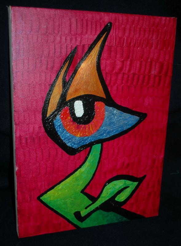 Eye with Horns  Outsider Art Abstract   Painting on Canvas Free Shipping