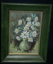 Small Framed Still LIfe Flower Bouquet in Vase Oil Painting  Signed Parkey '74   Free Shipping