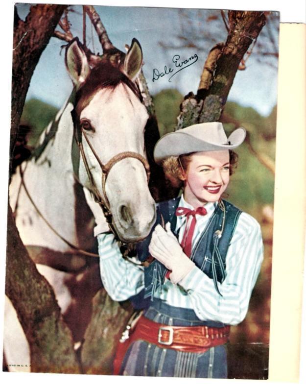 Dale Evans & Horse Buttercup Autographed Color Lithograph 7.5