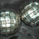 Large Modernist Silver Dome Criss Cross Clip On Earrings Signed