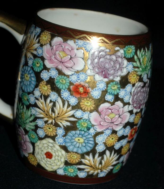 Kutani Ware Porcelain Japanese  Gold & Flower  millefleur Coffee Mug Cup