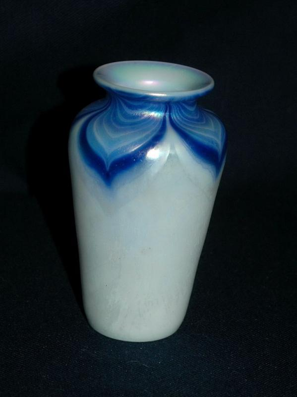 Opalescent & Blue Iridescent Pulled Feather Glass Vase  Hand Blown Art Glass