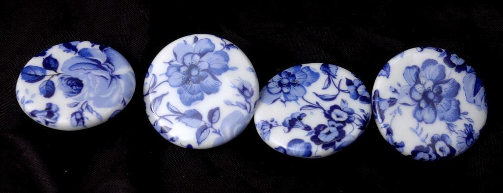 4 Birchcroft Porcelain China Buttons Blue / White Hand Painted  Flowers