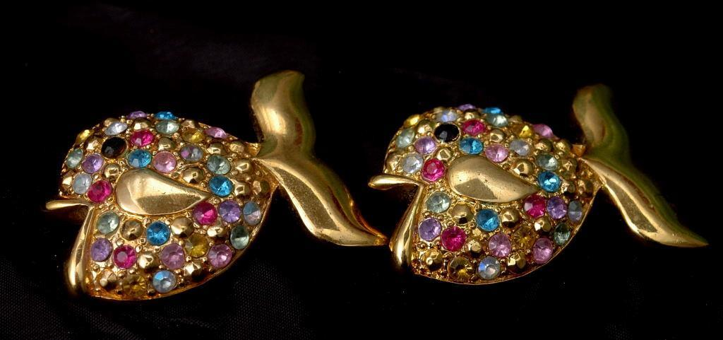 Goldfish  Duo  Brooch Set,   with Muli Colored Crystals  -1.75