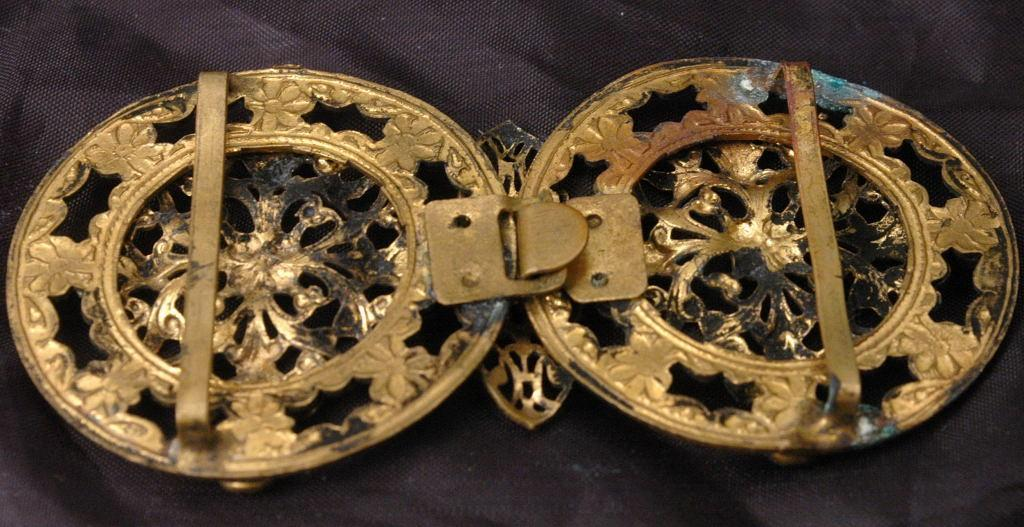 VICTORIAN BRASS  & Glass FILIGREE BELT BUCKLE LADIES