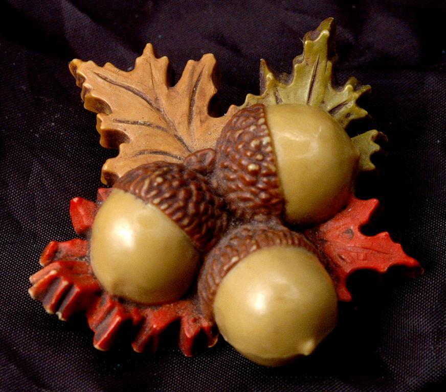 Carved Bakelite Acorn Brooch