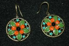 Enamel Flower  Brass Earrings  ( large)