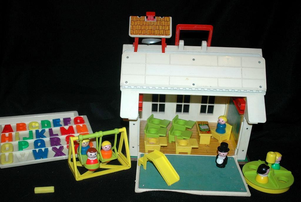 Vintage Fisher Price School House with Play Ground and Little People