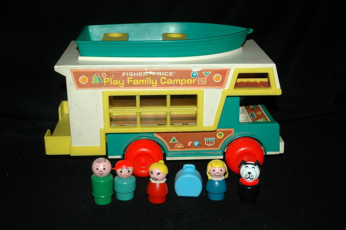 Fisher Price Little People Play Family Camper Set  With Boat,  Family and Dog