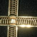 Very Large Van Dell 12K Gold Filled Cross with Dark Amber Crystal Center.