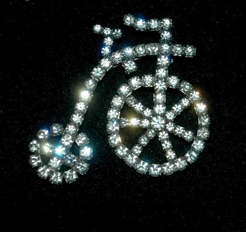 White Rhinestone Antique Bicycle  or tricycle Pin