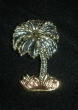 Made in Mexico Hand Crafted Mixed Metal Palm Tree Pin Brooch