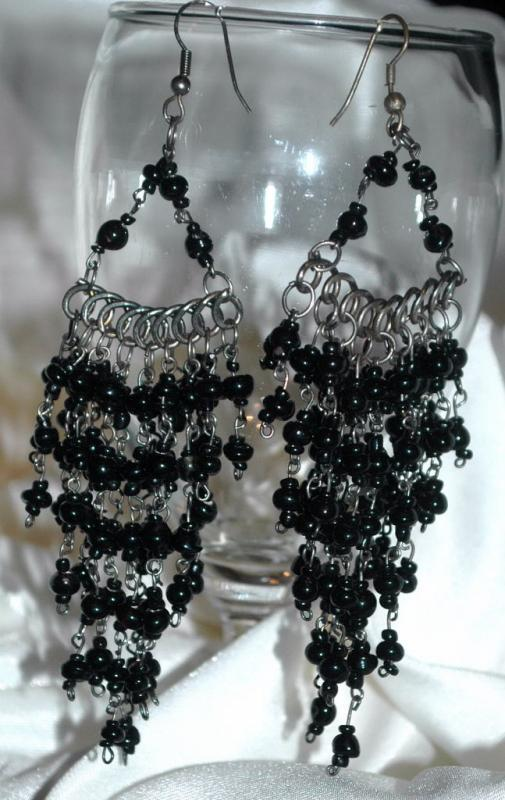 Black Czech Glass Cascading Dangle Earrings  Extra Long
