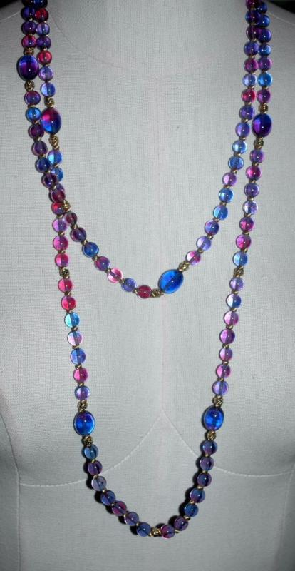 Gradient Color Change Glass Beads   Long Strand Necklace  58