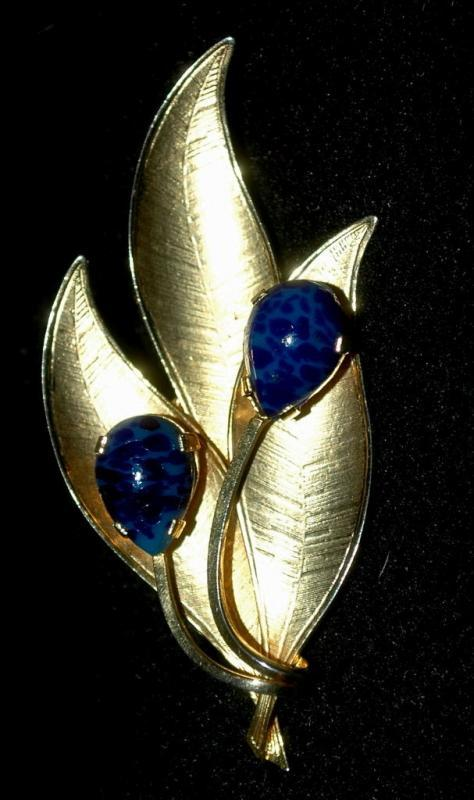 Gold Leaf Lapis  Brooch marked Austria
