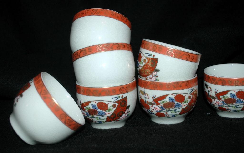 KUTANI WARE  Porcelain Tea Cup or  Bowl Set  7 hand painted enamel with gold trim