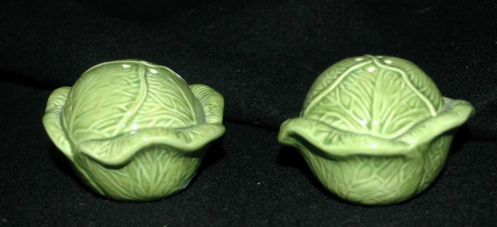 Green Cabbage Salt and Pepper Shakers