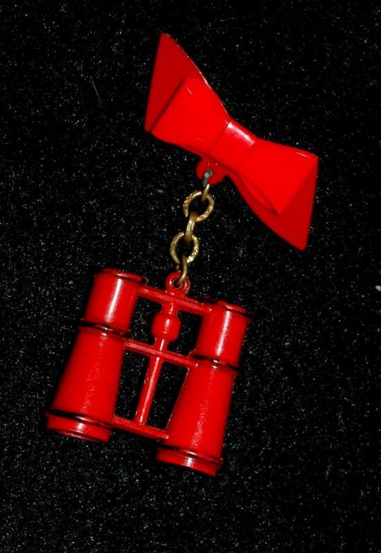 Novelty Red Plastic Binoculars Pin - Free Shipping