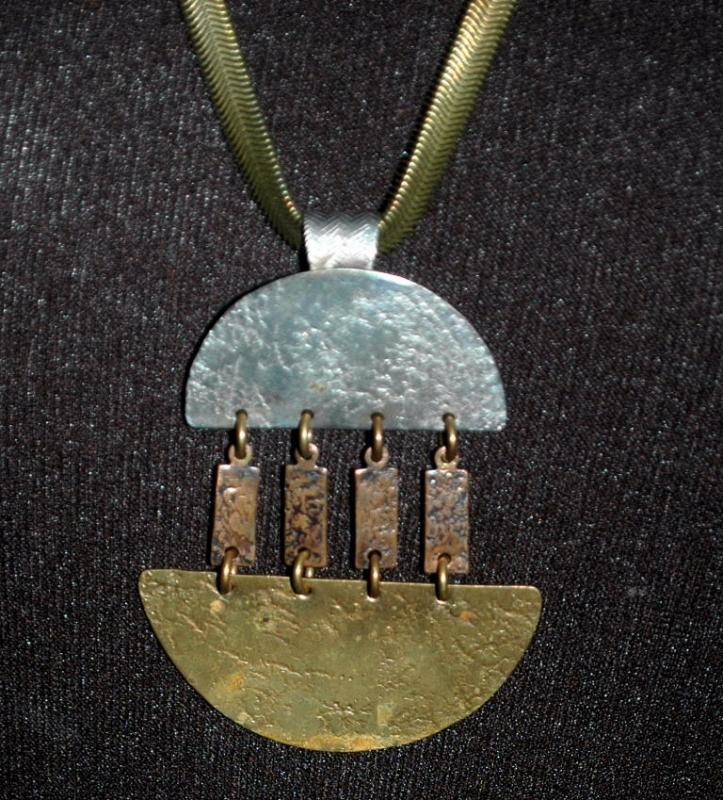 Marjorie Baer S. F. Modernist Mixed Metal Necklace  - Hand Wrought