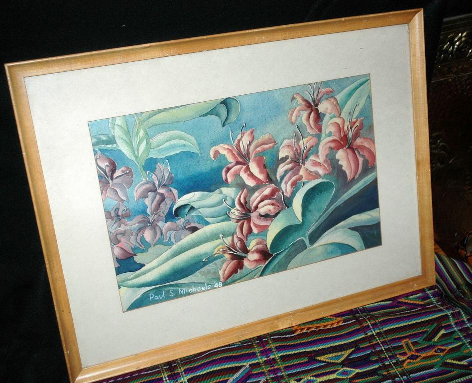 Lilies Watercolor Painting signed Paul S. Michaels '48 framed behind glass