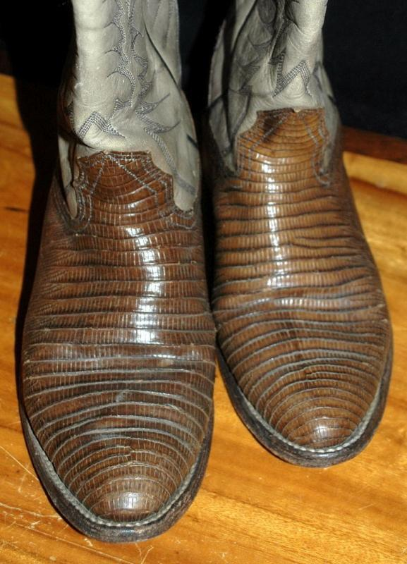 Exotic Nocona Lizard & Leather Cowboy Boots 7.5D   ( mens)