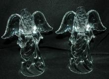 Pair of  Crystal  Angel Candle Holders Princess House Glass