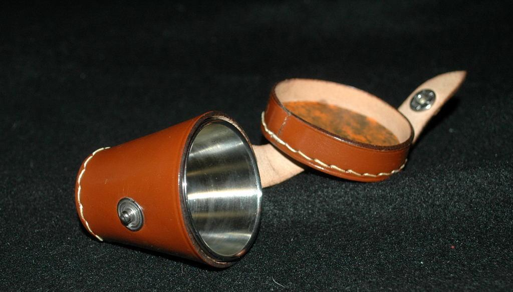 Leather Shot Glass Holder with 4 Stainless Steel Shot Glasses - Vintage!
