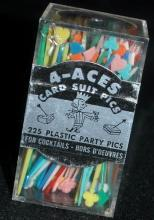 4-Aces Party Picks Card Suit, plastic, vintage unopened box