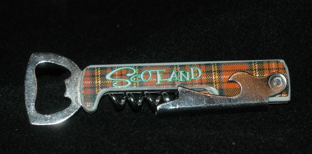 Scotland Scottish Tartan Design Corkscrew Bottle, Can Opener